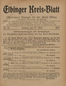 Kreis-Blatt des Königlich Preußischen Landraths-Amtes zu Elbing, Nr. 53 Freitag 28 Juni 1907