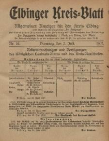Kreis-Blatt des Königlich Preußischen Landraths-Amtes zu Elbing, Nr. 54 Dienstag 2 Juli 1907