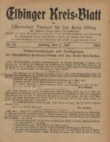 Kreis-Blatt des Königlich Preußischen Landraths-Amtes zu Elbing, Nr. 55 Freitag 5 Juli 1907