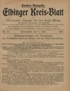 Kreis-Blatt des Königlich Preußischen Landraths-Amtes zu Elbing, Nr. 56 Sonnabend 6 Juli 1907