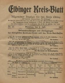 Kreis-Blatt des Königlich Preußischen Landraths-Amtes zu Elbing, Nr. 57 Dienstag 9 Juli 1907