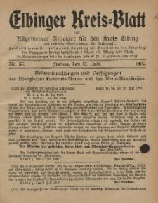 Kreis-Blatt des Königlich Preußischen Landraths-Amtes zu Elbing, Nr. 58 Freitag 12 Juli 1907