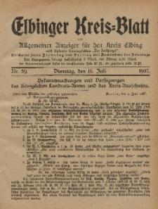 Kreis-Blatt des Königlich Preußischen Landraths-Amtes zu Elbing, Nr. 59 Dienstag 16 Juli 1907