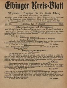 Kreis-Blatt des Königlich Preußischen Landraths-Amtes zu Elbing, Nr. 64 Freitag 2 August 1907
