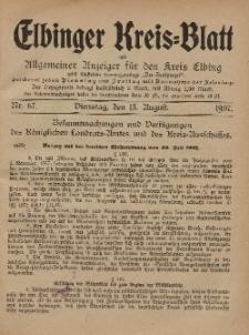 Kreis-Blatt des Königlich Preußischen Landraths-Amtes zu Elbing, Nr. 67 Dienstag 13 August 1907