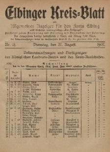 Kreis-Blatt des Königlich Preußischen Landraths-Amtes zu Elbing, Nr. 71 Dienstag 27 August 1907