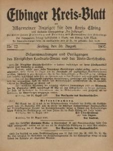 Kreis-Blatt des Königlich Preußischen Landraths-Amtes zu Elbing, Nr. 72 Freitag 30 August 1907