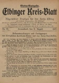 Kreis-Blatt des Königlich Preußischen Landraths-Amtes zu Elbing, Nr. 73 Sonnabend 31 August 1907