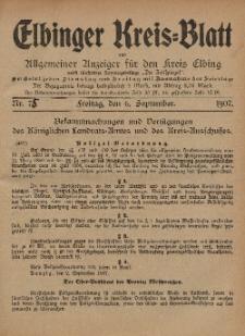 Kreis-Blatt des Königlich Preußischen Landraths-Amtes zu Elbing, Nr. 75 Freitag 6 September 1907