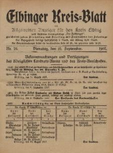 Kreis-Blatt des Königlich Preußischen Landraths-Amtes zu Elbing, Nr. 76 Dienstag 10 September 1907