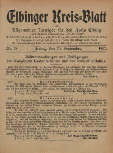 Kreis-Blatt des Königlich Preußischen Landraths-Amtes zu Elbing, Nr. 78 Freitag 20 September 1907