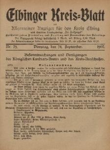 Kreis-Blatt des Königlich Preußischen Landraths-Amtes zu Elbing, Nr. 79 Dienstag 24 September 1907