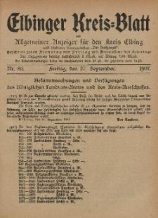 Kreis-Blatt des Königlich Preußischen Landraths-Amtes zu Elbing, Nr. 80 Freitag 27 September 1907