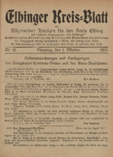 Kreis-Blatt des Königlich Preußischen Landraths-Amtes zu Elbing, Nr. 81 Dienstag 1 Oktober 1907