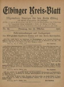 Kreis-Blatt des Königlich Preußischen Landraths-Amtes zu Elbing, Nr. 89 Dienstag 29 Oktober 1907
