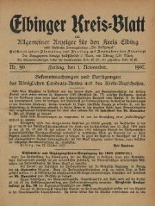 Kreis-Blatt des Königlich Preußischen Landraths-Amtes zu Elbing, Nr. 90 Freitag 1 November 1907