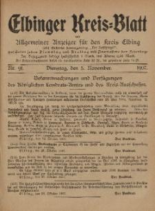 Kreis-Blatt des Königlich Preußischen Landraths-Amtes zu Elbing, Nr. 91 Dienstag 5 November 1907