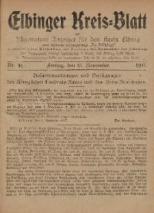 Kreis-Blatt des Königlich Preußischen Landraths-Amtes zu Elbing, Nr. 94 Freitag 15 November 1907