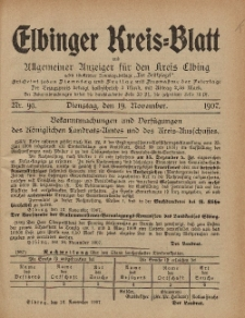 Kreis-Blatt des Königlich Preußischen Landraths-Amtes zu Elbing, Nr. 95 Dienstag 19 November 1907