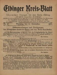 Kreis-Blatt des Königlich Preußischen Landraths-Amtes zu Elbing, Nr. 97 Dienstag 26 November 1907
