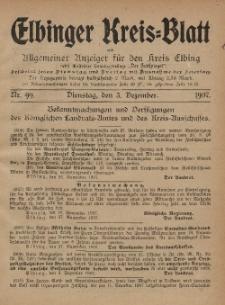 Kreis-Blatt des Königlich Preußischen Landraths-Amtes zu Elbing, Nr. 99 Dienstag 3 November 1907