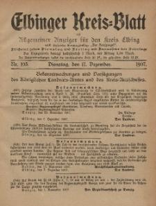 Kreis-Blatt des Königlich Preußischen Landraths-Amtes zu Elbing, Nr. 103 Dienstag 17 Dezember 1907