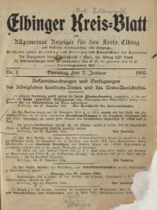 Kreis-Blatt des Königlich Preußischen Landraths-Amtes zu Elbing, Nr. 1 Dienstag 3 Januar 1905