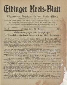Kreis-Blatt des Königlich Preußischen Landraths-Amtes zu Elbing, Nr. 7 Freitag 24 Januar 1905