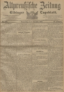 Altpreussische Zeitung, Nr. 260 Freitag 4 November 1904, 56. Jahrgang