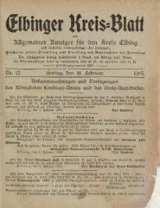 Kreis-Blatt des Königlich Preußischen Landraths-Amtes zu Elbing, Nr. 12 Freitag 10 Februar 1905