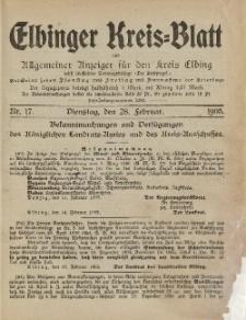 Kreis-Blatt des Königlich Preußischen Landraths-Amtes zu Elbing, Nr. 17 Dienstag 28 Februar 1905