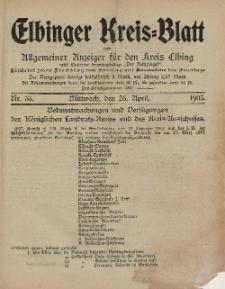 Kreis-Blatt des Königlich Preußischen Landraths-Amtes zu Elbing, Nr. 33 Mittwoch 26 April 1905