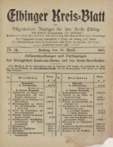 Kreis-Blatt des Königlich Preußischen Landraths-Amtes zu Elbing, Nr. 34 Freitag 28 April 1905