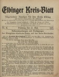 Kreis-Blatt des Königlich Preußischen Landraths-Amtes zu Elbing, Nr. 41 Dienstag 23 Mai 1905