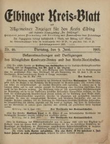 Kreis-Blatt des Königlich Preußischen Landraths-Amtes zu Elbing, Nr. 46 Dienstag 9 Juni 1905