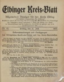 Kreis-Blatt des Königlich Preußischen Landraths-Amtes zu Elbing, Nr. 59 Freitag 21 Juli 1905