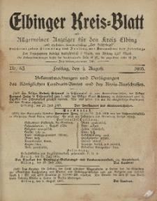 Kreis-Blatt des Königlich Preußischen Landraths-Amtes zu Elbing, Nr. 63 Freitag 4 August 1905