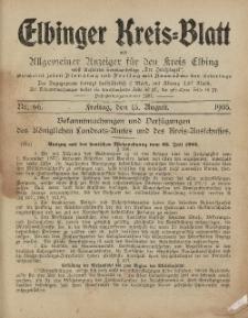 Kreis-Blatt des Königlich Preußischen Landraths-Amtes zu Elbing, Nr. 66 Freitag 15 August 1905