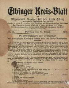 Kreis-Blatt des Königlich Preußischen Landraths-Amtes zu Elbing, Nr. 68 Dienstag 22 August 1905