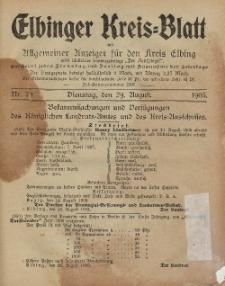 Kreis-Blatt des Königlich Preußischen Landraths-Amtes zu Elbing, Nr. 70 Dienstag 29 August 1905