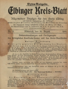 Kreis-Blatt des Königlich Preußischen Landraths-Amtes zu Elbing, Nr. 71 Mittwoch 30 August 1905