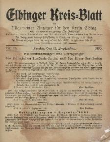 Kreis-Blatt des Königlich Preußischen Landraths-Amtes zu Elbing, Nr. 76 Freitag 15 September 1905