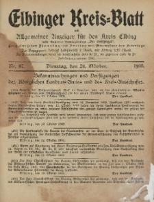 Kreis-Blatt des Königlich Preußischen Landraths-Amtes zu Elbing, Nr. 87 Dienstag 24 Oktober 1905