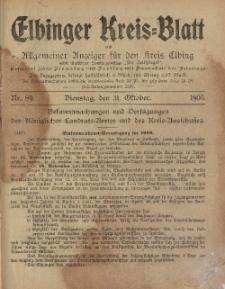 Kreis-Blatt des Königlich Preußischen Landraths-Amtes zu Elbing, Nr. 89 Dienstag 31 Oktober 1905
