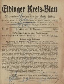Kreis-Blatt des Königlich Preußischen Landraths-Amtes zu Elbing, Nr. 92 Freitag 10 November 1905