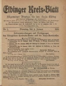 Kreis-Blatt des Königlich Preußischen Landraths-Amtes zu Elbing, Nr. 1 Dienstag 4 Januar 1910