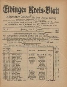 Kreis-Blatt des Königlich Preußischen Landraths-Amtes zu Elbing, Nr. 2 Freitag 7 Januar 1910