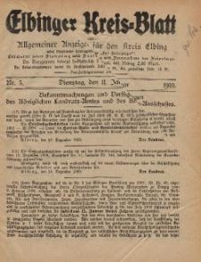 Kreis-Blatt des Königlich Preußischen Landraths-Amtes zu Elbing, Nr. 3 Dienstag 11 Januar 1910
