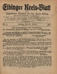 Kreis-Blatt des Königlich Preußischen Landraths-Amtes zu Elbing, Nr. 4 Freitag 14 Januar 1910