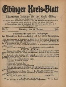 Kreis-Blatt des Königlich Preußischen Landraths-Amtes zu Elbing, Nr. 5 Dienstag 18 Januar 1910